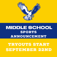 Middle School Fall Sports start Tuesday, September 22nd.