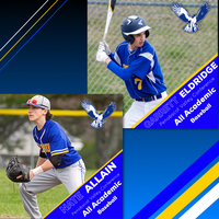 Eldridge and Allain named PVC Baseball All Academic