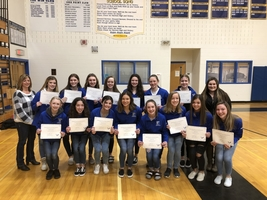 Cheerleaders recognized at School Board meeting for their 2020 State Championship.