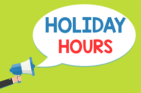 Holiday Vacation Hours