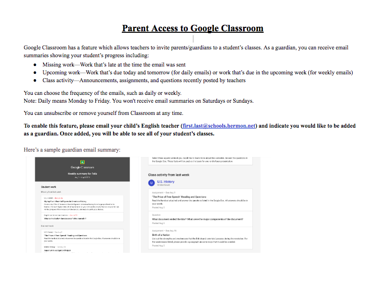 Parent Info for Google Classroom