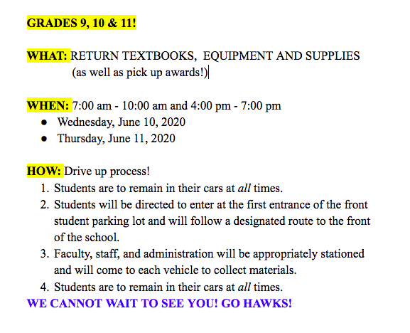 Grade 9, 10 and 11 Materials pick up and drop off