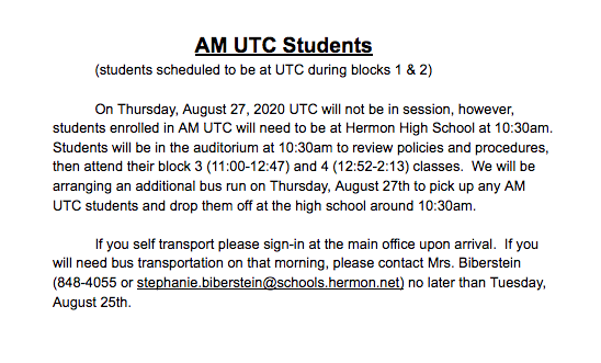 Message to AM UTC students