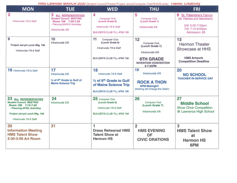 Events Calendar March